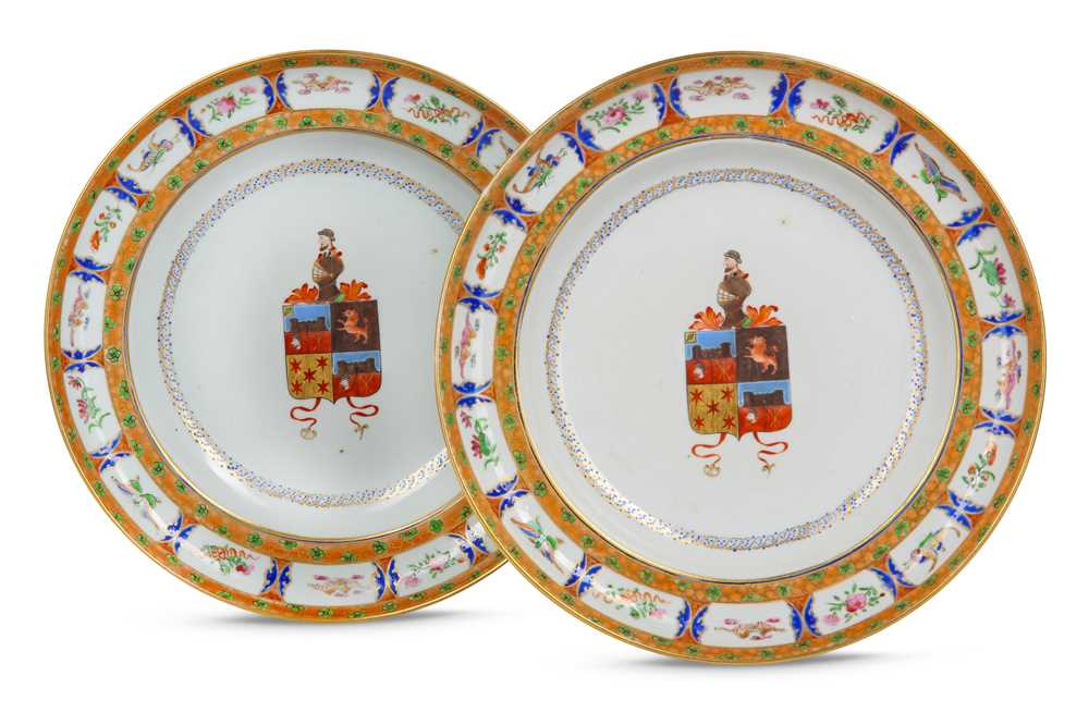 Lot 140 - A PAIR OF CHINESE FAMILLE ROSE ARMORIAL DISHES.