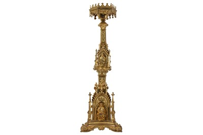 Lot 15-A 19TH CENTURY FRENCH NEO-GOTHIC GILT BRONZE ECCLESIASTICAL CANDLE HOLDER