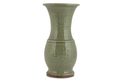 Lot 48-A CHINESE CELADON VASE. Ming Dynasty. The pear-...