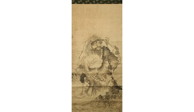 Lot 29-A HANGING SCROLL. 19th Century. Painted in the...
