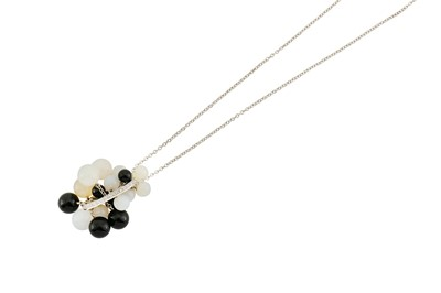 Lot 40-A diamond, onyx and agate pendant necklace