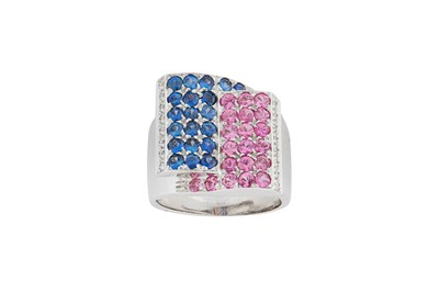 Lot 20 - A multi-coloured sapphire and diamond dress ring