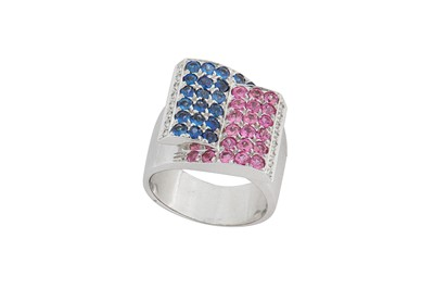 Lot 20-A multi-coloured sapphire and diamond dress ring