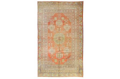 Lot 15-AN ANTIQUE KHOTAN CARPET, EAST TURKESTAN approx:...