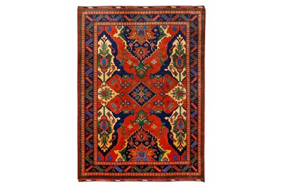 Lot 20-A FINE UZBEKISTAN CARPET OF DRAGON DESIGN approx: ...