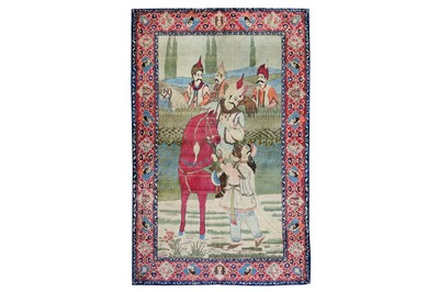 Lot 34-A FINE KASHAN PICTORIAL RUG, CENTRAL PERSIA...