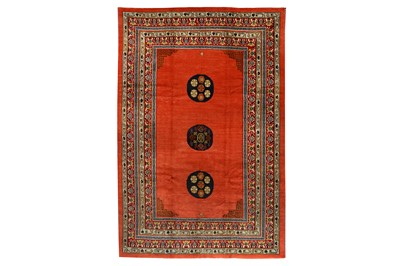 Lot 23-AN UNUSUAL TIBETAN CARPET approx: 9ft.11in. x 6ft....