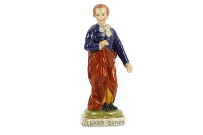 Lot 7-A STAFFORDSHIRE FIGURE OF LORD BYRON  English,...