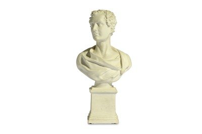 Lot 27-AN EARLY BISQUE PORCELAIN BUST OF LORD BYRON...
