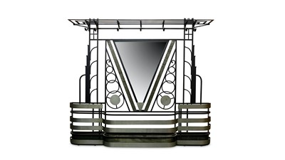 Lot 24-FRANCE: AN ART DECO PAINTED AND SILVERED METAL MIRRORED HALL STAND