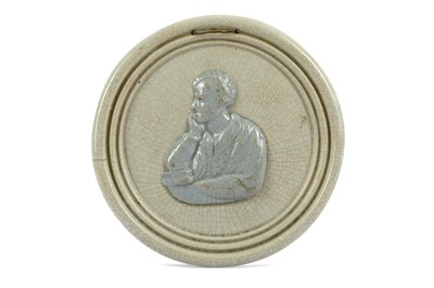 Lot 37-A CREAMWARE PORTRAIT ROUNDEL OF LORD BYRON...