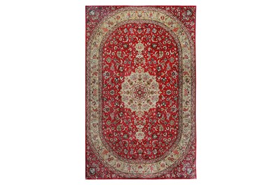 Lot 44-AN EXTREMELY FINE SIGNED SILK QUM CARPET, CENTRAL ...