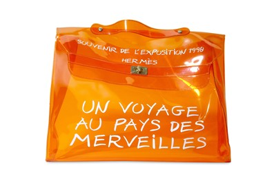 Lot 19-Hermes Limited Edition Transparent Orange Vinyl 'Souvenir de L'Exposition' Kelly