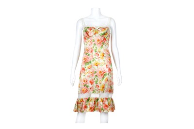 Lot 36-Christian Dior Boutique Floral Silk Bustier Dress - size 42