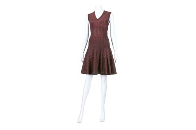 Lot 47-Alaia Aubergine Velveteen Fit and Flare Dress - size 38