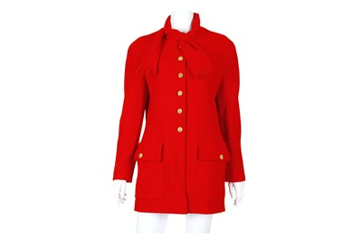 Lot 27-Chanel Red Boucle Jacket
