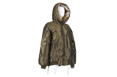 Lot 10-Hermes Iridescent Khaki Puffer Jacket - size 40