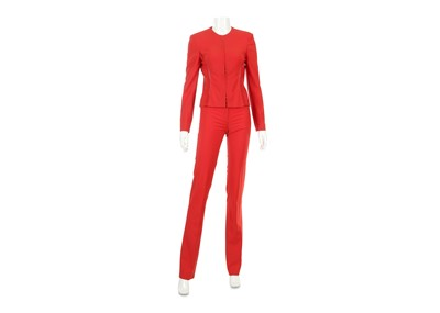 Lot 9-Gianni Versace Couture Red Trouser Suit - Size 40