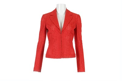 Lot 32-Gianni Versace Red Broderie Anglaise Jacket - size 38