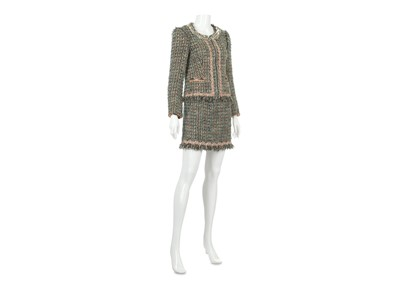 Lot 2-Moschino Cheap and Chic Green Tweed Skirt Suit - size 38