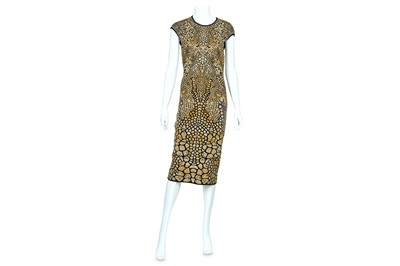 Lot 13-Alexander McQueen Stretch Knit Black and Gold Dress