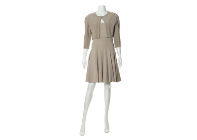 Lot 8-Alaia Taupe Stretch Dress and Jacket - sizes 42 and 44