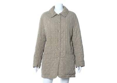 Lot 11-Hermes Taupe Quilted Jacket - size 40
