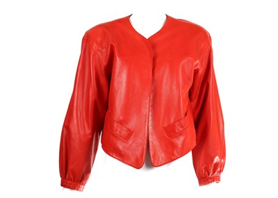 Lot 33-Yves Saint Laurent Red Leather Jacket - size 42