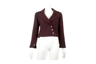 Lot 43-Chanel Deep Purple Cropped Jacket - size 38