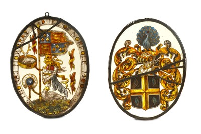 Lot 76-An 18th to 19th century stained glass heraldic...