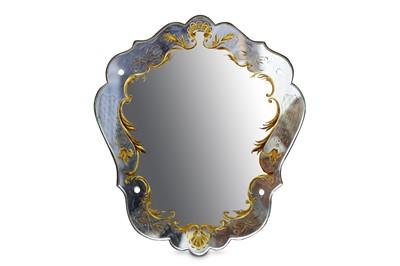 Lot 78-A mid 20th Century Venetian frameless mirror of...