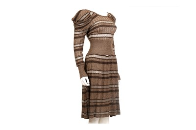 Lot 23-Kenzo Metallic Brown Knitted Dress - size M