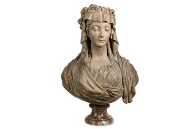 Lot 18-AN EARLY 19TH CENTURY FRENCH TERRACOTTA BUST OF A VESTAL VIRGIN