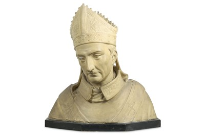Lot 42 - A LATE 19TH CENTURY PAINTED PLASTER BUST OF A...