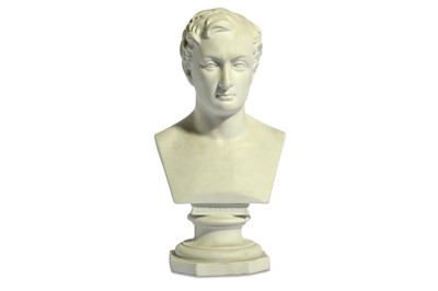 Lot 3-AN EARLY BISQUE PORCELAIN BUST OF LORD BYRON...