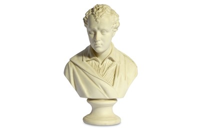 Lot 15-A BISQUE PORCELAIN BUST OF LORD BYRON England,...