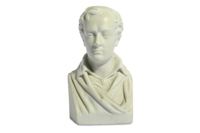 Lot 19-A WHITE PORCELAIN BISQUE BUST OF BYRON European,...
