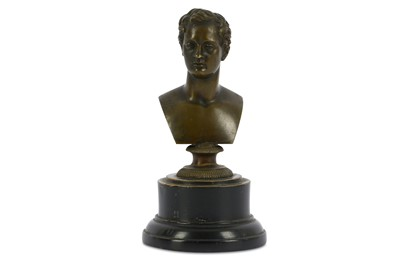 Lot 18-AN EARLY VICTORIAN BRONZE BUST OF LORD BYRON...
