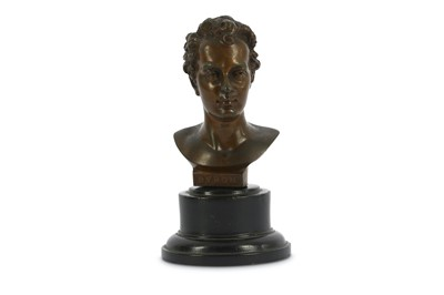 Lot 43-A WHITE METAL BUST OF LORD BYRON England, 19th...