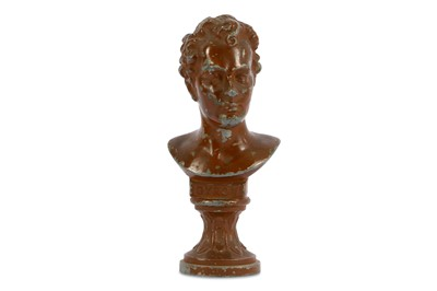 Lot 20-A WHITE METAL PATINATED BUST OF LORD BYRON...