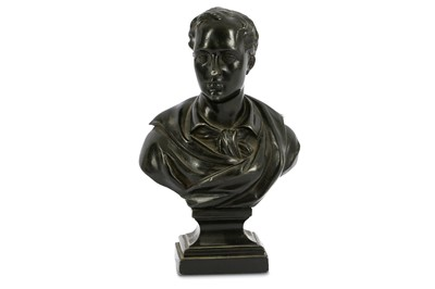 Lot 14-A PATINATED SPELTER BUST OF LORD BYRON England,...