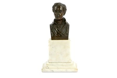 Lot 16-A BRONZE BUST OF LORD BYRON IN GREEK UNIFORM...