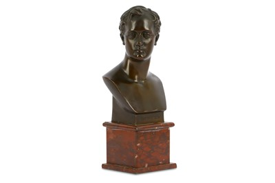 Lot 41-A BRONZE BUST OF LORD BYRON France, 19th...