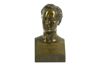 Lot 46-A LARGE BRONZE BUST OF LORD BYRON England,...