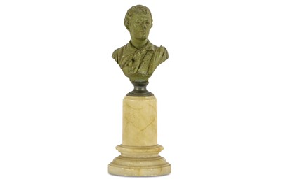 Lot 11-A WHITE METAL BUST OF LORD BYRON England,...