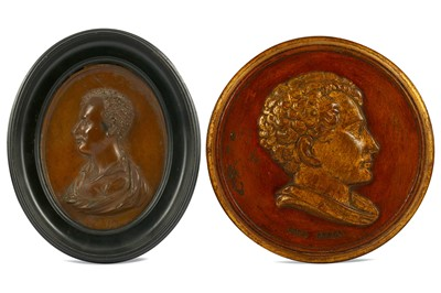 Lot 26-A MINIATURE ROUNDEL OF LORD BYRON ON COPPER...
