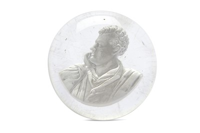 Lot 10-A LARGE PAPERWEIGHT WITH BUST OF LORD BYRON...