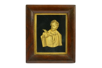 Lot 44-A GILT BRONZE RELIEF PLAQUE OF BYRON European,...