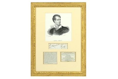 Lot 23-LORD BYRON'S INK SIGNATURE Clipped from the close ...