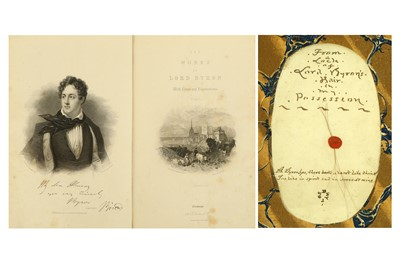Lot 1-TWO VOLUMES OF THE WORKS OF LORD BYRON WITH...